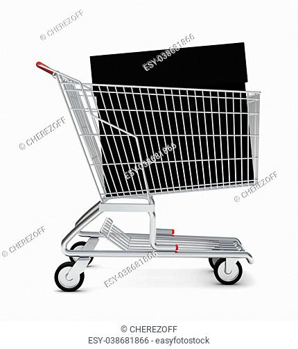 Black bag in shopping cart on isolated white background