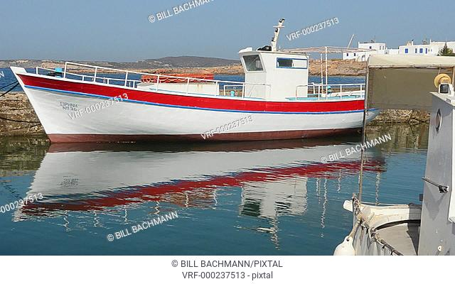 Greece Paros Cyclades Naousa or Naouusa fishing boats in port in city center