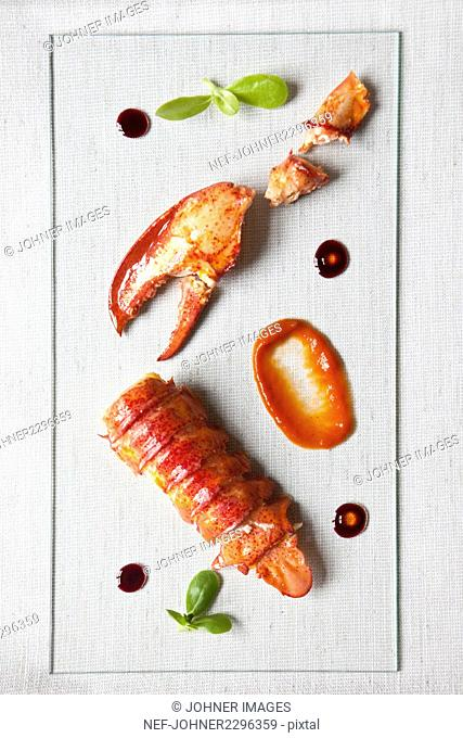 Lobster on glass plate