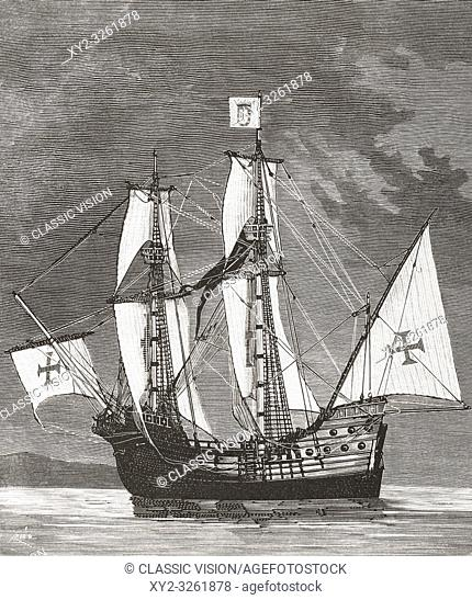 The Sao Gabriel, the flagship of Vasco da Gama's armada on his first voyage to India in 1497-1499. From La Ilustracion Artistica, published 1887