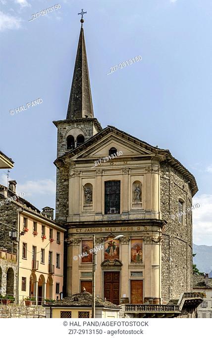 facade view of san Giacomo church, shot on bright summer day at Campertogno, Valsesia, Vercelli, Italy