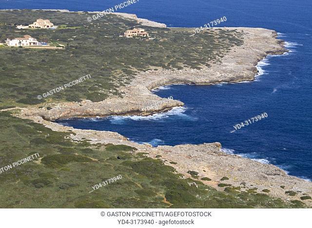 Aerial view of Mallorca coast, Majorca, Balears Island, Spain.