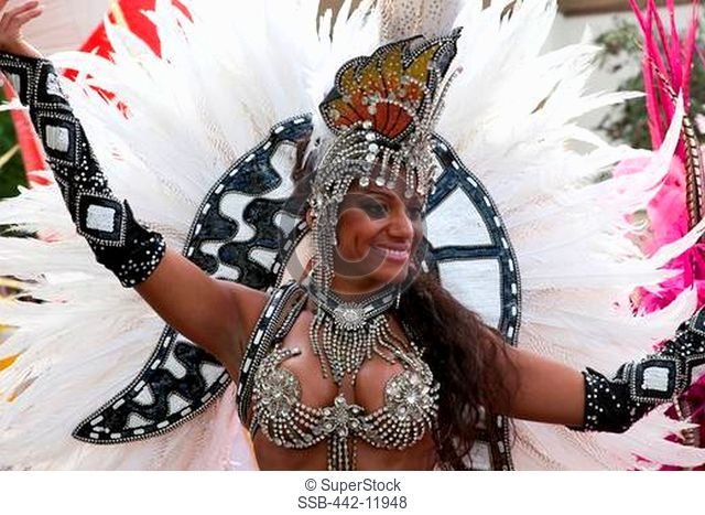 UK, England, London, Young woman in costume at Notting Hill Carnival