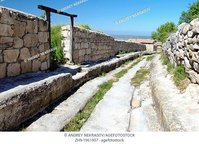 Deep rut in the road, Cufut Qale, Chufut-Kale Jewish Fortress Crimea, Ukraine, Eastern Europe