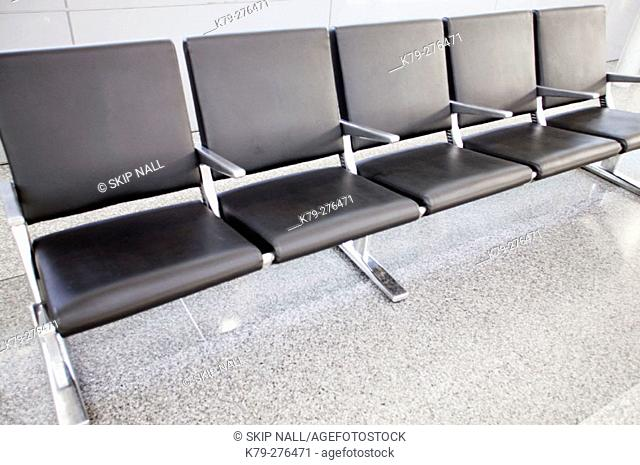 Empty airport chairs