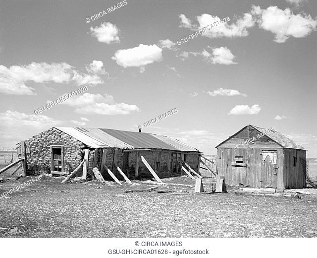 Sod House on Sub-Marginal Land, Pennington County, South Dakota, USA, Arthur Rothstein for Farm Security Administration, May 1936