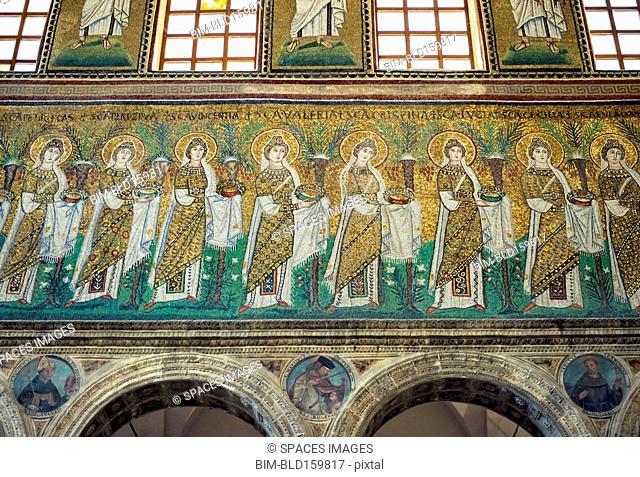 Tile mosaic and ornate architecture in Basilica di Sant'Apollinare, Ravenna, Ravenna, Italy
