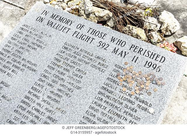 Florida, Miami, Everglades National Park, Valujet Flight 592 Memorial, air airplane jet crash, those who perished victims list