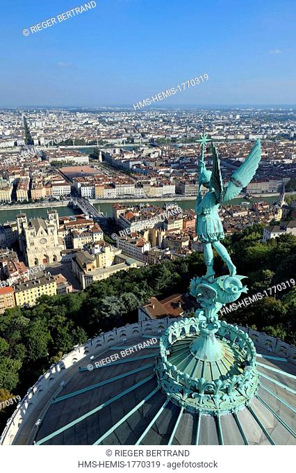 France, Rhone, Lyon, historical site listed as World Heritage by UNESCO, Vieux Lyon (Old Town), the statue of the Archangel Saint Michael slaying the dragon...