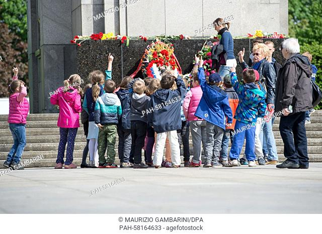 School children from the European School in Berlin, mostly from countries in the former Soviet Union, visit the Soviet Memorial and lay flowers in Berlin
