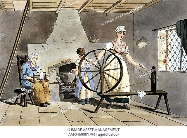 Three generations of women  Cottager spinning wool using simple wheel without treadle while her mother reels yarn and her daughter stirs cast iron pot standing...