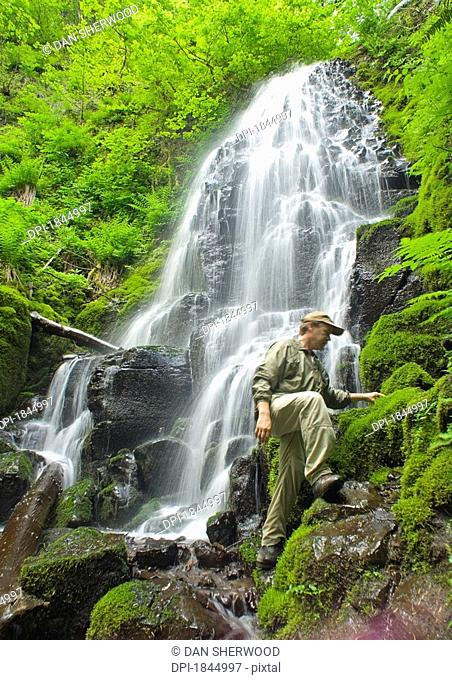 A hiker at Fairy Falls, Oregon, United States of America
