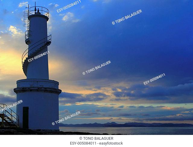 La Savina port lighthouse Formentera sunset