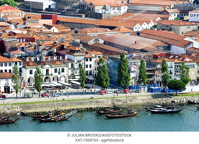 port wine storage warehouses and barges in Porto, Portugal, along the waterfront