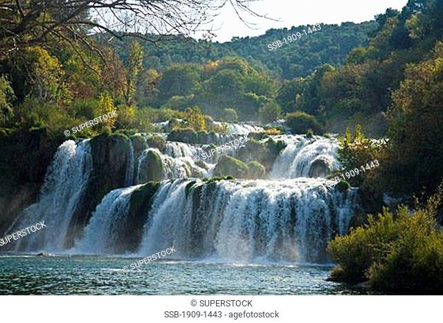Skradinski Buk waterfalls on the River Krka in autumn sunshine Krka National Park Dalmatia Croatia Europe