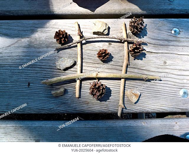 Tris game with sticks and stones, pine cones