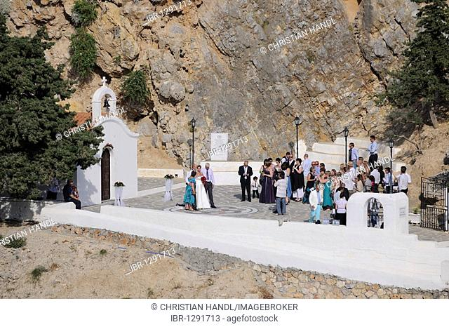 Wedding in the chapel located in Apostle Paul's Bay, Agios Pavlos Bay, Lindos, Rhodes, Greece, Europe