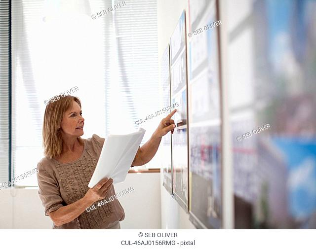Businesswoman examining signs in office