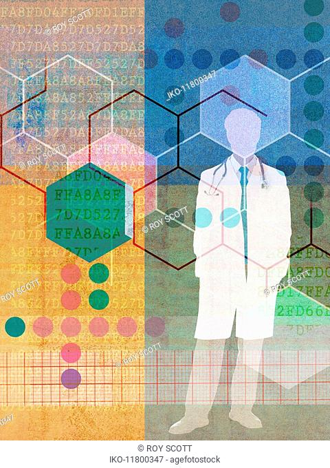 Doctor and connected patterns and code numbers in medical research collage