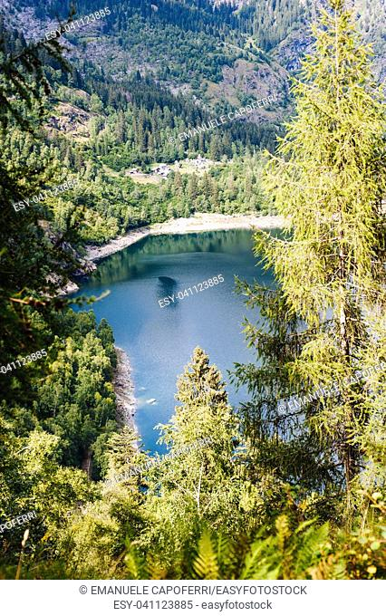 alpine lake in the mountains in the woods seen from above, Valle Antrona, Piedmont Italy