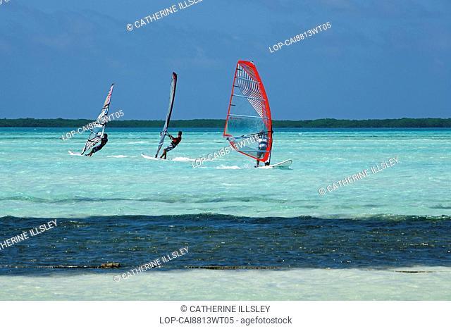 Bonaire, East Coast, Lac Bay. Windsurfers on Lac Bay lagoon