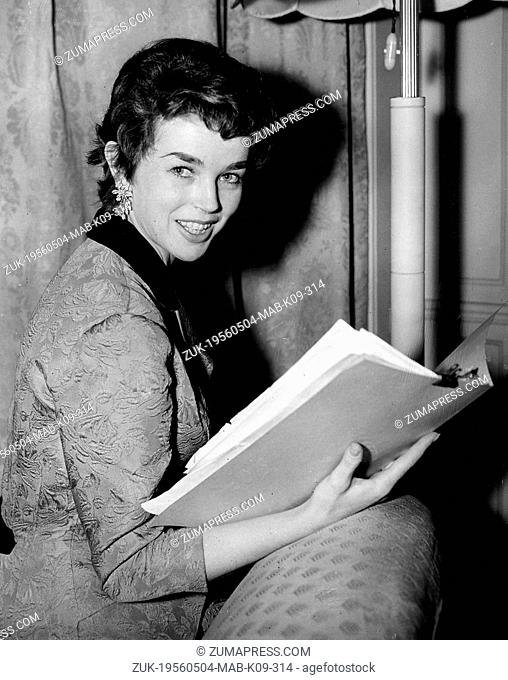 May 4, 1956 - London, England, U.K. - Film star DAWN ADDAMS, wife of Italy's Prince Vittorio Massimo, arrived in London. She is here for her role opposite...