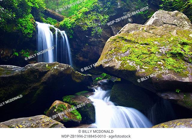 Water Rushes Between Boulders Below Grotto Falls, Roaring Fork Nature Trail, Great Smoky Mts,NP, Tennessee, USA