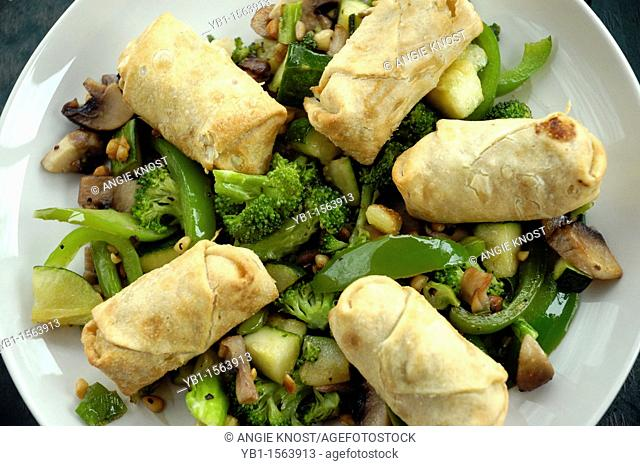 Small Egg Rolls or Spring Rolls with Stir Fry Vegetables
