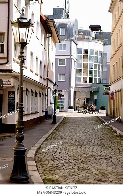 Listed Kapuzinerstrasse in the Old Town of Mainz with historico-cultural buildings in Mainz