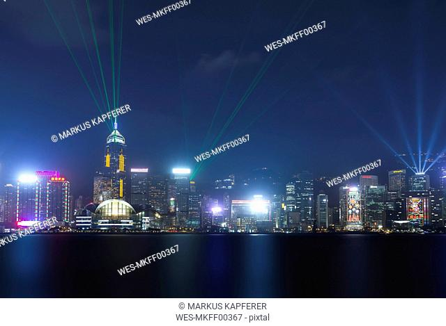 China, Hong Kong, Central at night