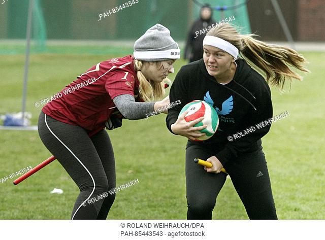 Players of the Ruhr Phoenix (blue) and Muenster Marauders (red) in action during a quidditch match in Muenster, Germany, 6 November 2016