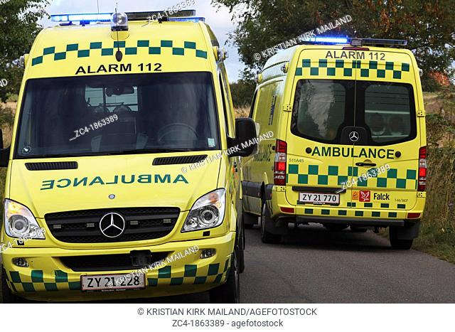 Two ambulances arriving to an accident. Denmark