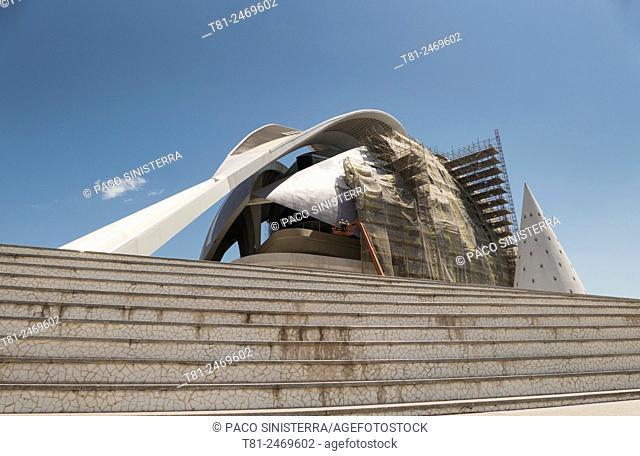 Palau de les Arts Reina Sofia opera house under construction, City of Arts and Sciences, Valencia, Spain