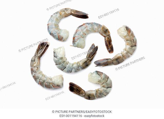 Fresh black tiger shrimp tails on white background