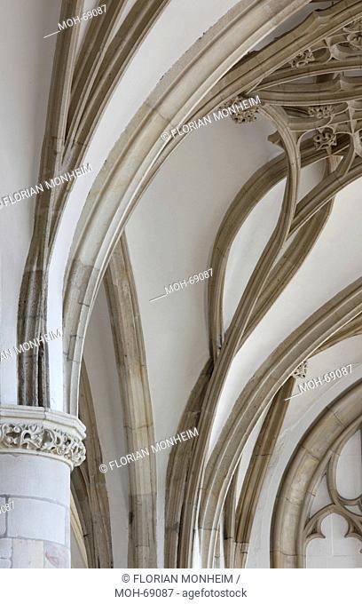 Freitragendes Gewölbe im südlichen Seitenschiff, verschlungene Luftrippen und Dienste