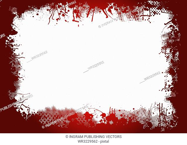 dirty ink and halftone border in blood red