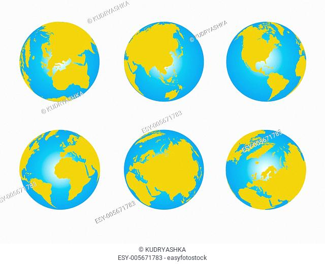 World map, 3D globe series