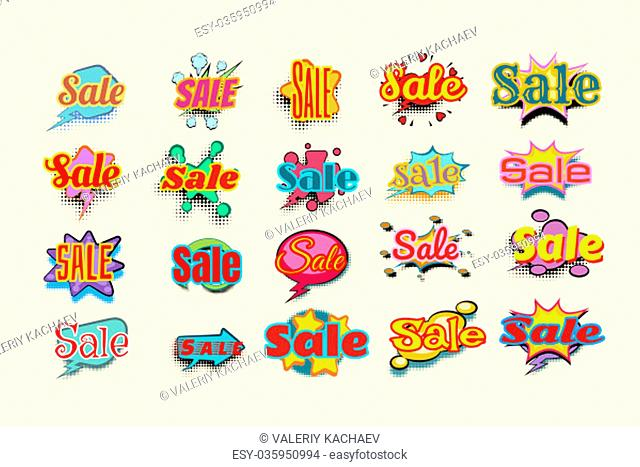 Sales background with comic bubble. Set of stickers. Pop art retro vector illustration
