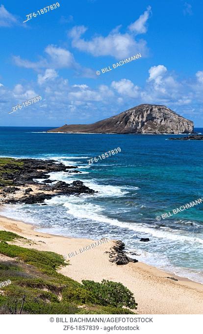 Hawaii Honolulu looking down at beautiful Makapu's Beach Park with Manana Island Oahu