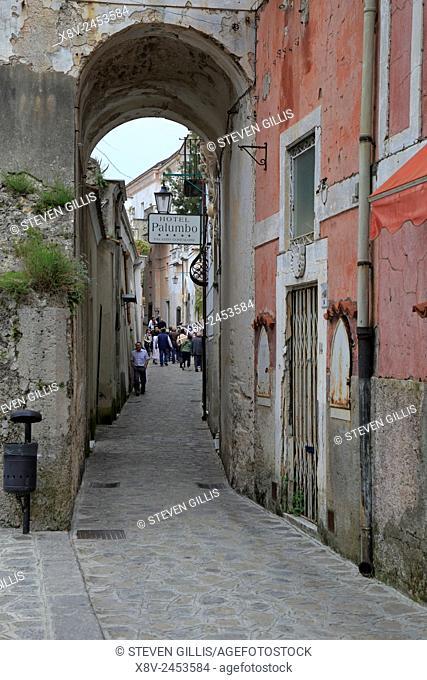 Tourist on a narrow street in Ravello, Italy