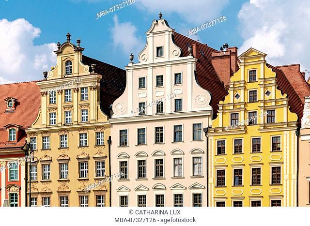 Poland, Wroclaw, old town, Rynek, patrician houses, 'Sieben-Kurfürsten side'