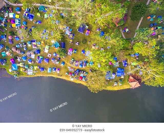 Aerial view of tourist camp in a mountain and beautiful lake, Shot from drone