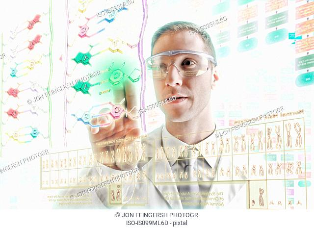 Scientist interacting with holographic screens