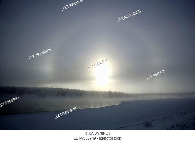 A halo above Kemijoki river in Rovaniemi, Finland
