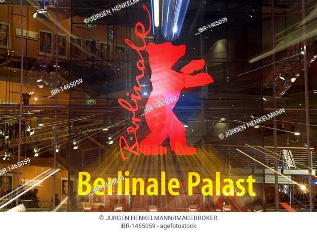 Berlinale Bear, logo and symbol of the Berlinale or Berlin Film Festival, Berlinale Palast, Marlene-Dietrich-Platz square, Potsdamer Platz square, Tiergarten