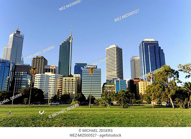 Australia, Perth, central business district, Esplanade, skyline with skyscrapers