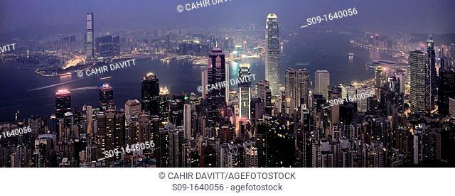 The skyline of Hong Kong and Kowloon viewed from the Peak, Hong Kong, China