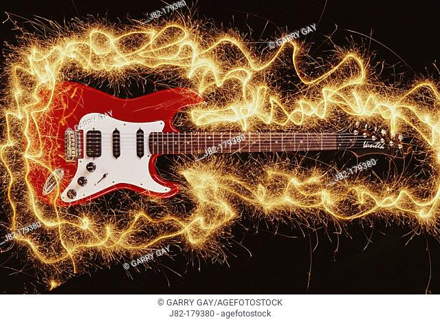 Electric guitar with sparks