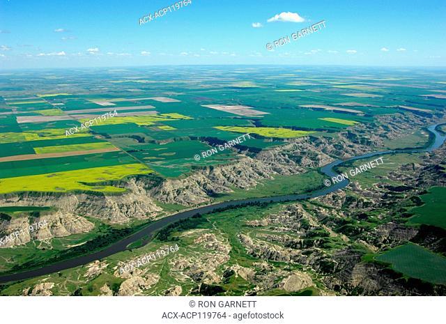 aerial, Red Deer River, Morrin, Alberta