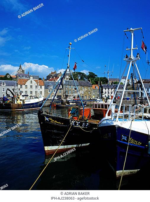 Fishing boats in the harbour at Pittenweem, a secluded fishing village on the Scottish east coast